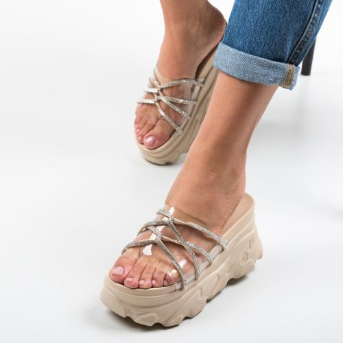 Papuci Crystal Bej - Sandale dama ieftine - Slapi