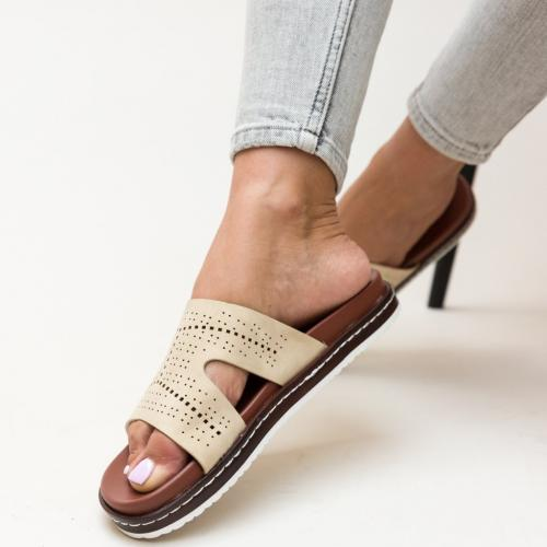 Papuci Greig Bej - Sandale dama ieftine - Slapi