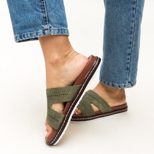Papuci Greig Verzi - Sandale dama ieftine - Slapi