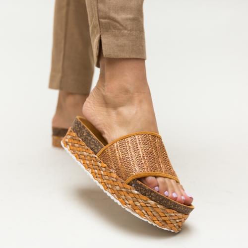 Papuci Jonny Camel - Sandale dama ieftine - Slapi