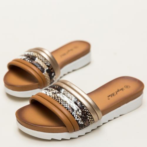 Papuci Ned Camel - Sandale dama ieftine - Slapi
