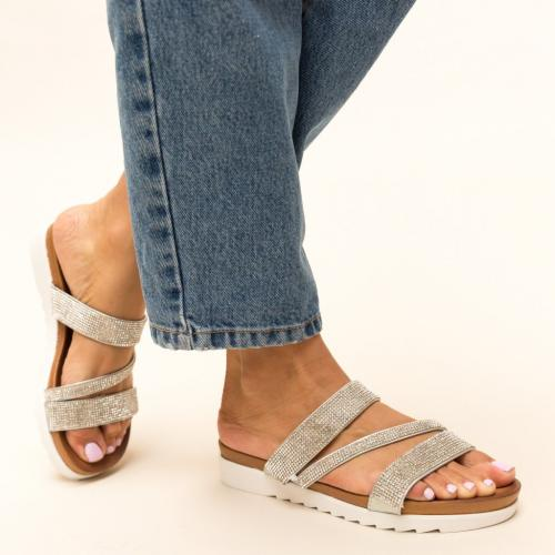 Papuci Sakina Argintii - Sandale dama ieftine - Slapi