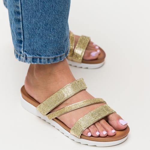 Papuci Sakina Aurii - Sandale dama ieftine - Slapi