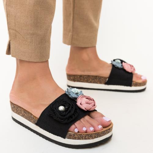 Papuci Vilora Negri - Sandale dama ieftine - Slapi