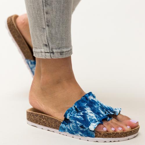 Papuci Vivion Albastri - Sandale dama ieftine - Slapi