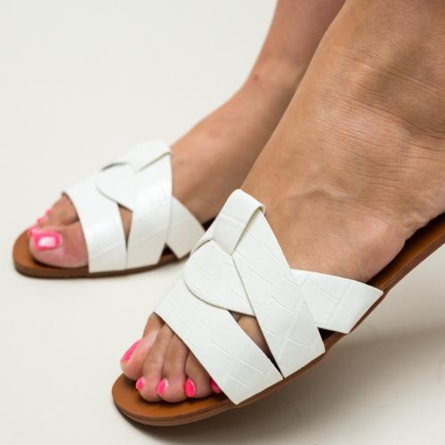 Papuci Zagara Albi - Sandale dama ieftine - Slapi
