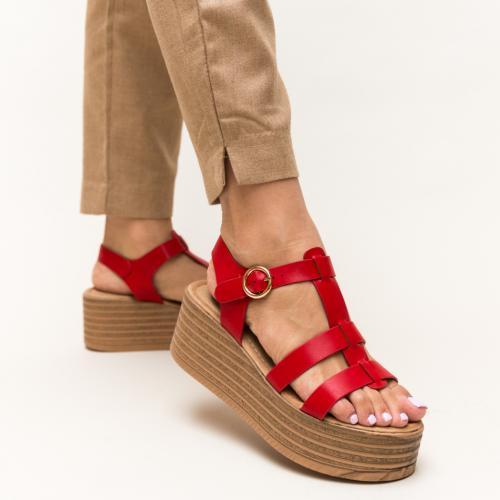 Platforme Adelinni Rosii - Sandale dama ieftine - Sandale cu platforma