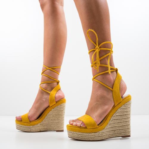 Platforme Amelie Galbene - Sandale dama ieftine - Sandale fara toc