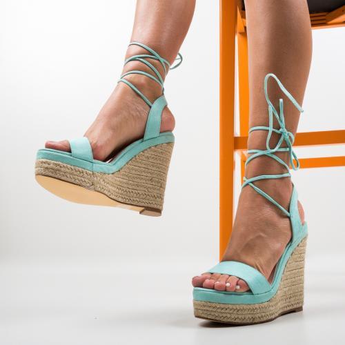 Platforme Amelie Turcoaz - Sandale dama ieftine - Sandale fara toc