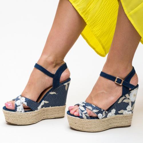 Platforme Cassie Bleumarin - Sandale dama ieftine - Sandale cu platforma