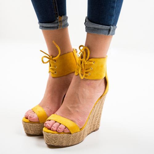 Platforme Cerema Galbene - Sandale dama ieftine - Sandale fara toc