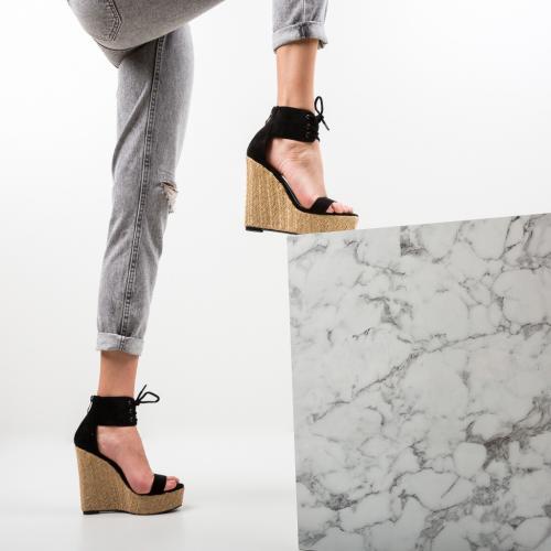 Platforme Cerema Negre - Sandale dama ieftine - Sandale fara toc