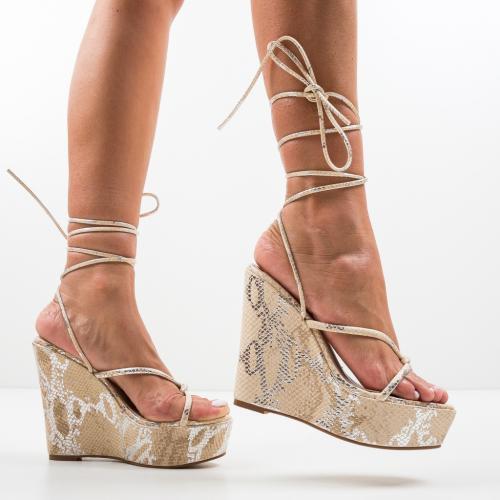 Platforme Daber Bej - Sandale dama ieftine - Sandale fara toc