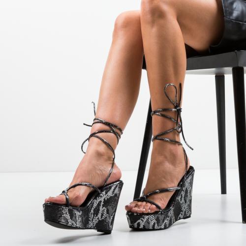 Platforme Daber Negre - Sandale dama ieftine - Sandale fara toc
