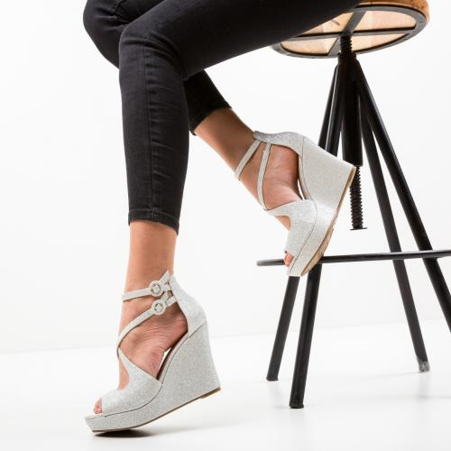 Platforme Dotta Argintii - Sandale dama ieftine - Sandale fara toc
