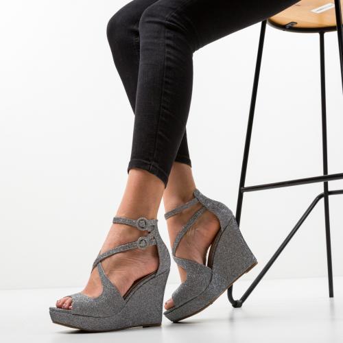 Platforme Dotta Gri - Sandale dama ieftine - Sandale fara toc