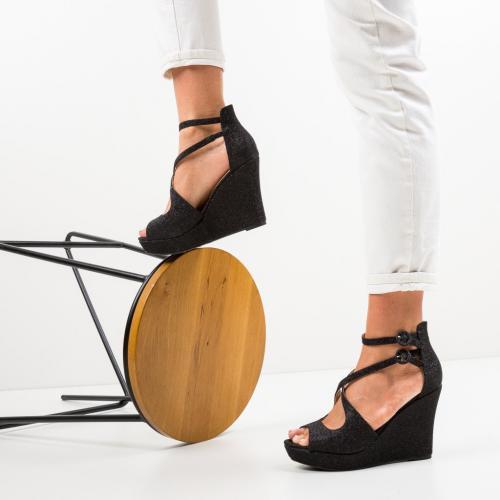 Platforme Dotta Negre - Sandale dama ieftine - Sandale fara toc