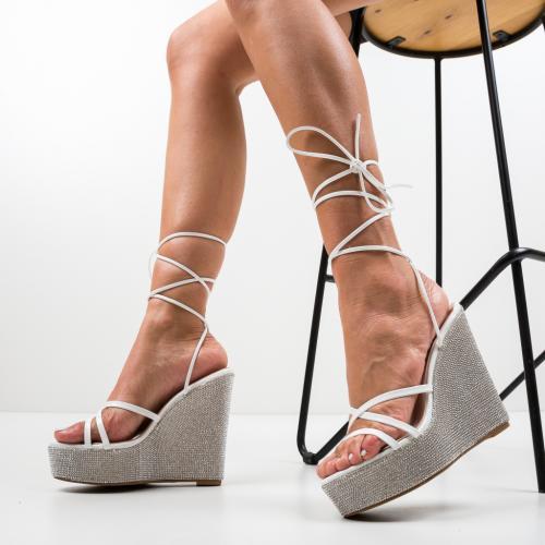 Platforme Feriho Albe - Sandale dama ieftine - Sandale fara toc