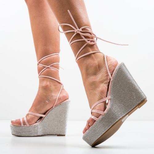 Platforme Feriho Roz - Sandale dama ieftine - Sandale fara toc