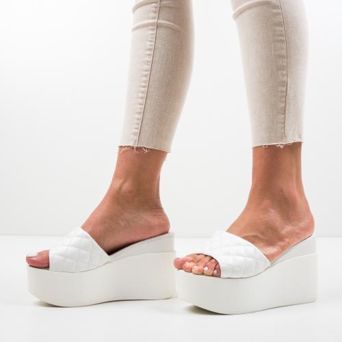 Platforme Furjak Albe - Sandale dama ieftine - Sandale fara toc