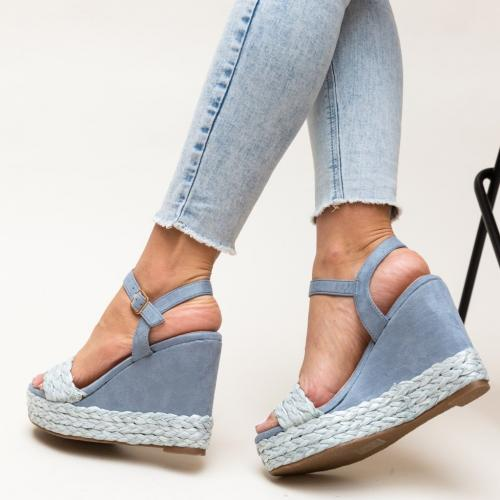 Platforme Imprimon Albastre - Sandale dama ieftine - Sandale cu platforma