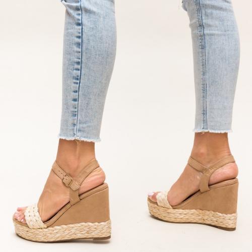 Platforme Imprimon Bej - Sandale dama ieftine - Sandale cu platforma