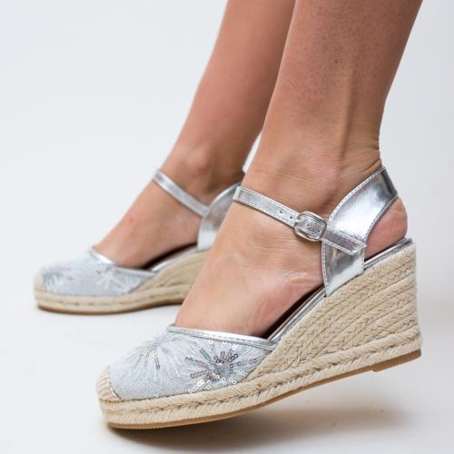 Platforme Jones Arginti - Sandale dama ieftine - Sandale cu platforma