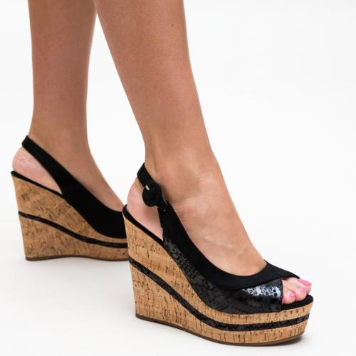 Platforme Jones Negre - Sandale dama ieftine - Sandale cu platforma