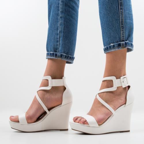 Platforme Kinha Albe - Sandale dama ieftine - Sandale fara toc
