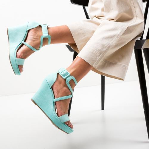 Platforme Kinha Turcoaz - Sandale dama ieftine - Sandale fara toc
