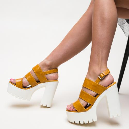 Platforme Merhab Galbene - Sandale dama ieftine - Sandale cu platforma