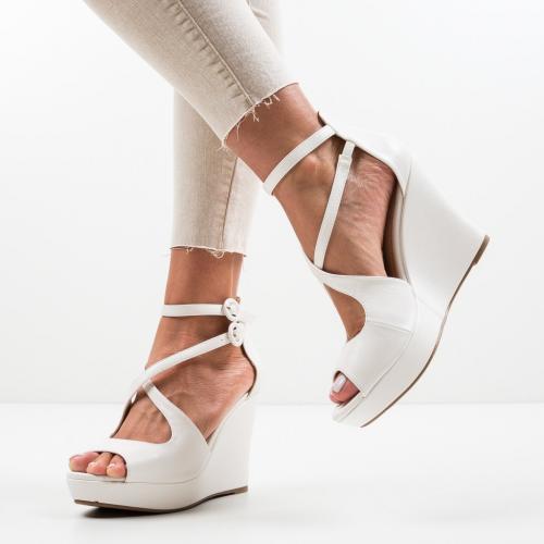 Platforme Naruto Albe - Sandale dama ieftine - Sandale fara toc