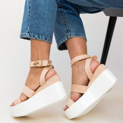 Platforme Oranda Bej - Sandale dama ieftine - Sandale cu platforma