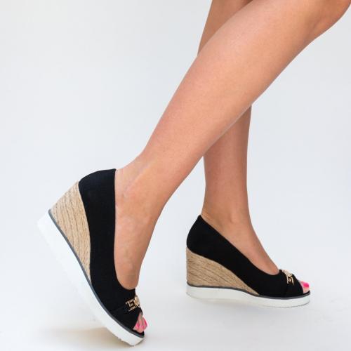 Platforme Purcari Negre - Sandale dama ieftine - Sandale cu platforma
