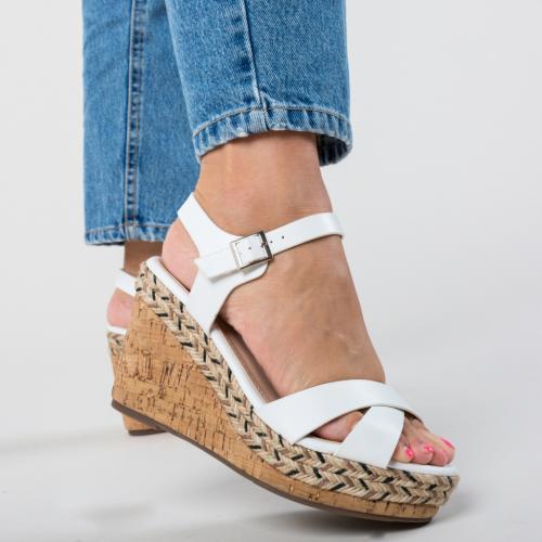 Platforme Ridley Albe - Sandale dama ieftine - Sandale cu platforma