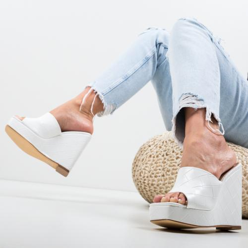 Platforme Sokui Albe - Sandale dama ieftine - Sandale fara toc