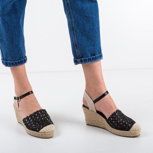 Platforme Straodiner Negre - Sandale dama ieftine - Sandale fara toc