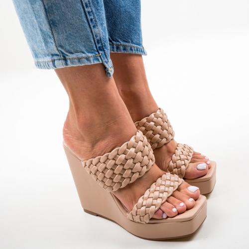 Platforme Terko Bej - Sandale dama ieftine - Sandale fara toc