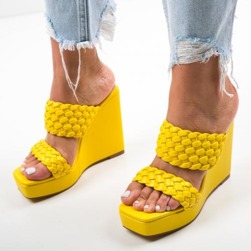 Platforme Terko Galbene - Sandale dama ieftine - Sandale fara toc
