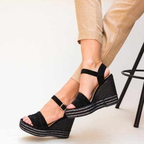 Platforme Tierney Negre - Sandale dama ieftine - Sandale cu platforma