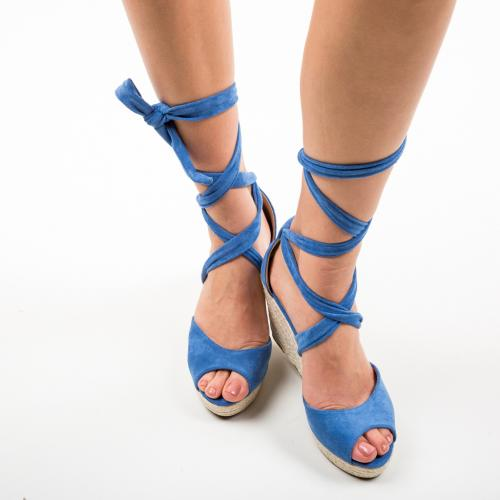 Platforme Winfre Albastre - Sandale dama ieftine - Sandale fara toc