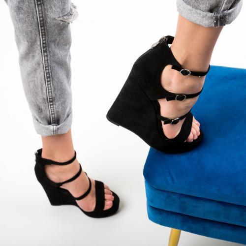 Platforme Zagala Negre - Sandale dama ieftine - Sandale fara toc