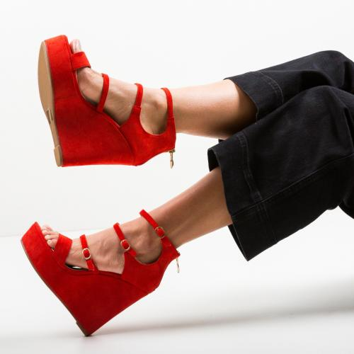 Platforme Zagala Rosii - Sandale dama ieftine - Sandale fara toc