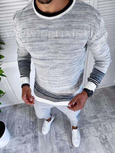 Pulover barbati gros slim fit alb T3616 O2-52 - Pulovere barbati -