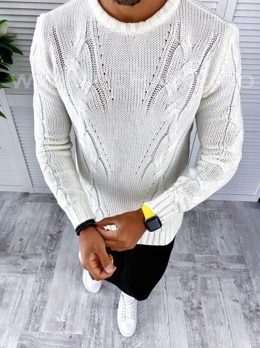 Pulover barbati gros slim fit alb T3624 N5-4 - Pulovere barbati -