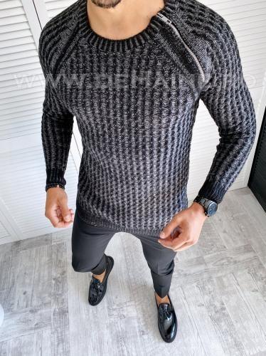 Pulover barbati gros slim fit negru T3711 2-6 - Pulovere barbati -