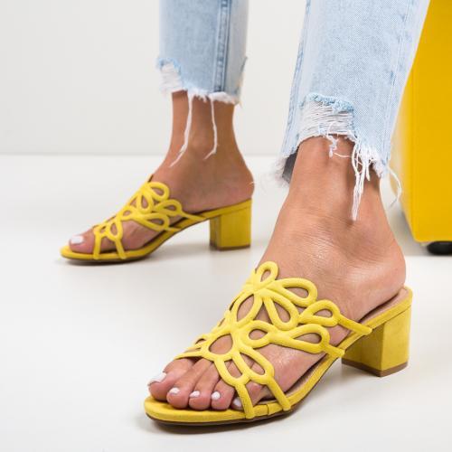 Saboti Dajoko Galbeni - Sandale dama ieftine - Sandale cu toc
