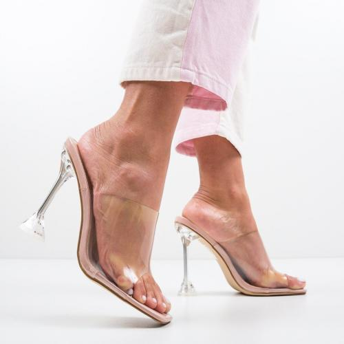 Saboti Grayson Bej - Sandale dama ieftine - Sandale cu toc