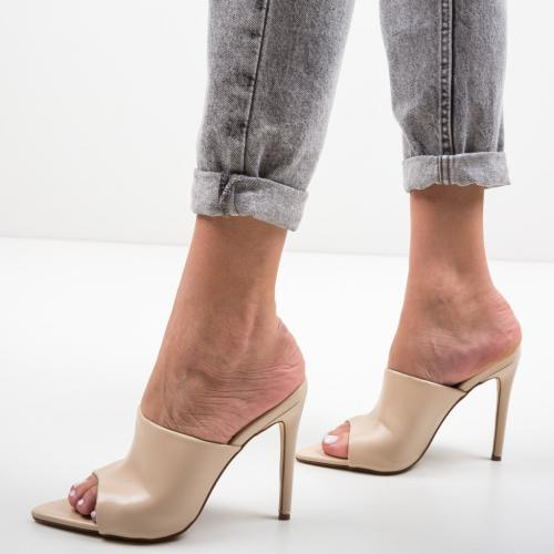 Saboti Mirror Bej - Sandale dama ieftine - Sandale cu toc