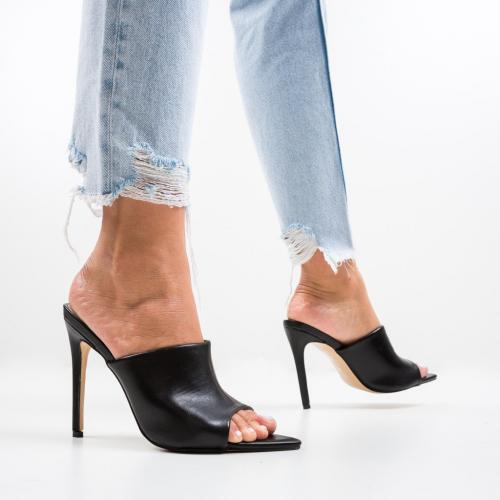 Saboti Mirror Negre - Sandale dama ieftine - Sandale cu toc